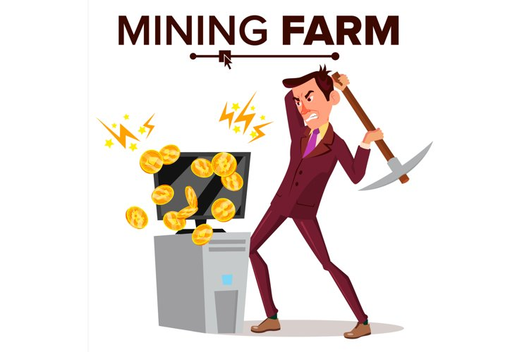 Mining Farm Vector. Businessman Miner. Cryptography
