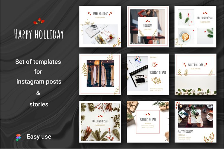 HAPPY HOLLIDAY Instagram Templates example image 1