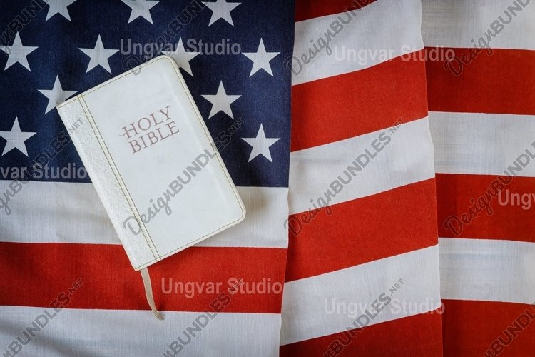 Holy Bible book with prayer for america