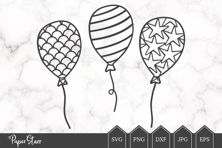 Set of Three Balloon SVG / DXF Cut File example image 1