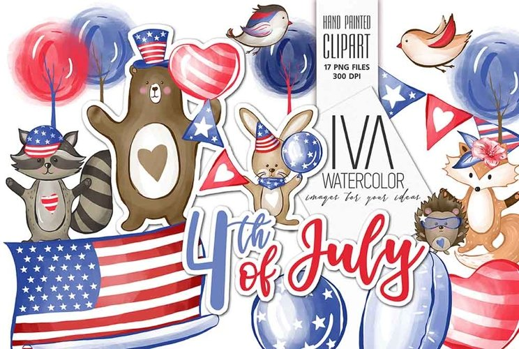 4th of July Clipart, Independence Day example image 1