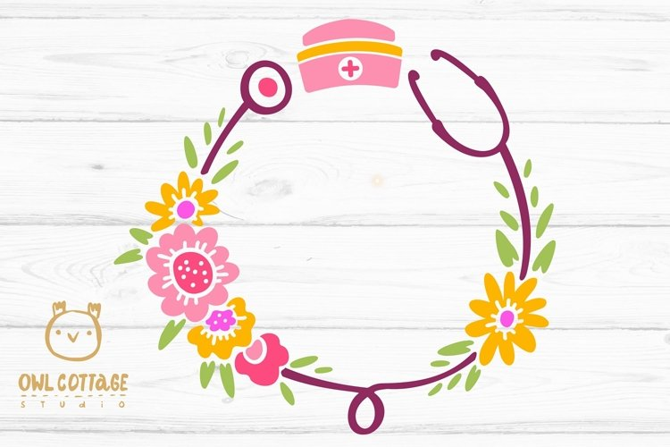 Floral Stethoscope SVG, Nurse Floral Monogram SVG example 1