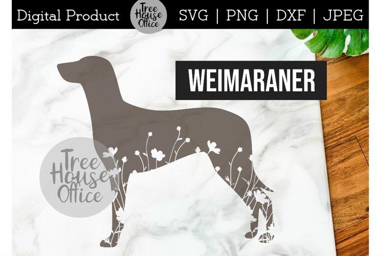 Weimaraner SVG, Dog with Flowers SVG PNG, Floral Weimaraner