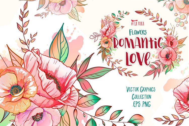 Vector Graphic Collection: Flowers Romantic Love example image 1