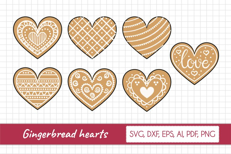 Vector collection of gingerbread hearts. Gingerbread Svg