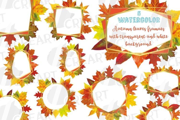 Fall leaves golden geometric frame templates. Autumn wedding example image 1