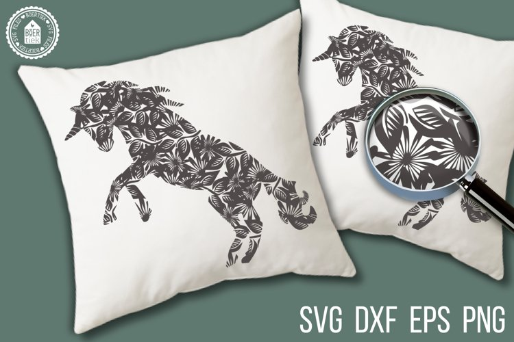 Beautiful unicorn with flowers, SVG cutting file example image 1