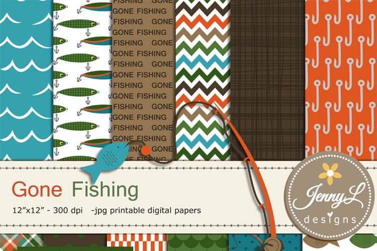 Fishing Digital Papers and clipart SET example image 1