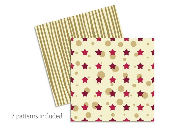 Khaki & Peony Patterns   Seamless Digital Papers example 1
