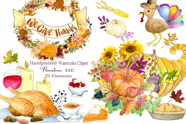 Watercolor Thanksgiving Clipart - Horn of Plenty, PNG example image 1
