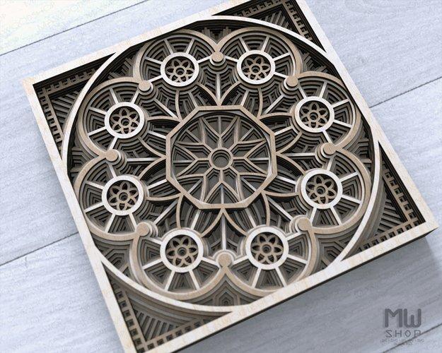 Layered Mandala SVG, 3D Mandala SVG, Laser Cut Mandala - D01 example 6