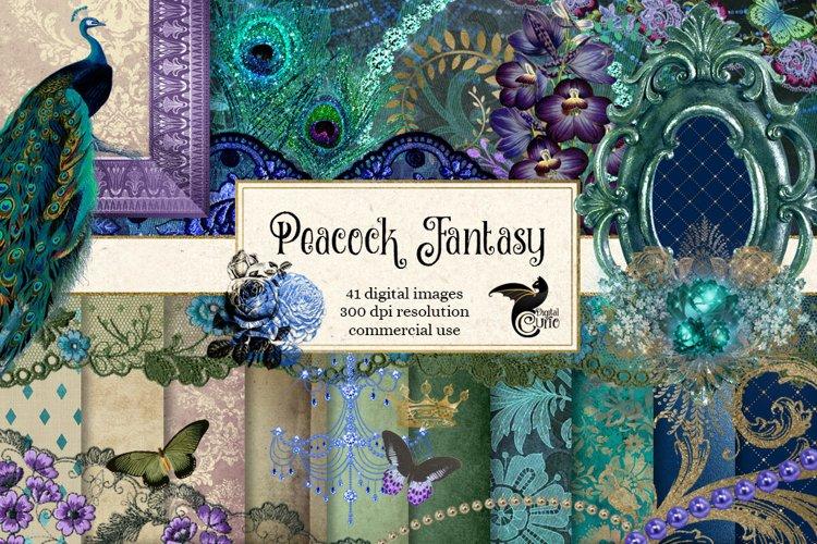 Peacock Fantasy Digital Scrapbooking Kit