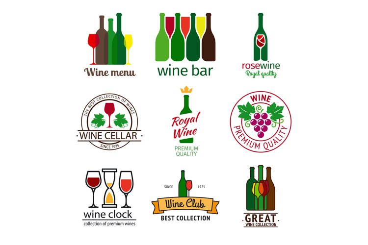 Wine shop logos set example image 1