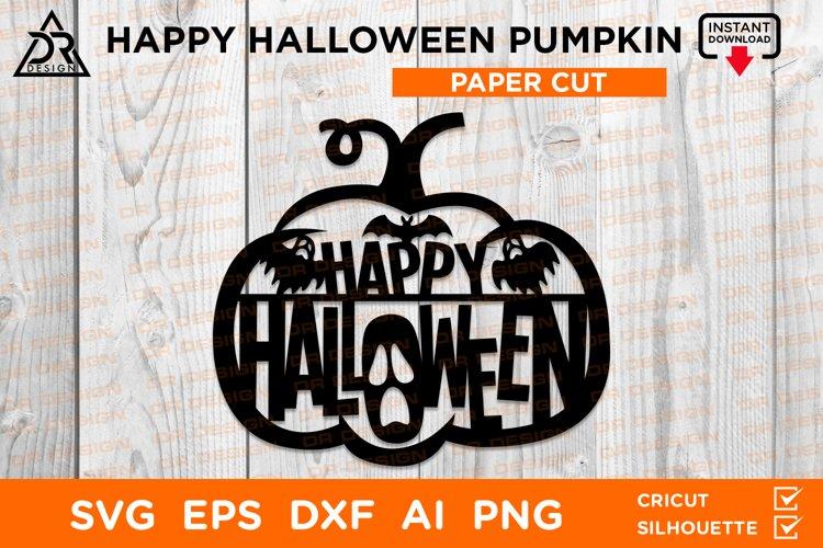 Happy Halloween Pumpkin Papercut example image 1