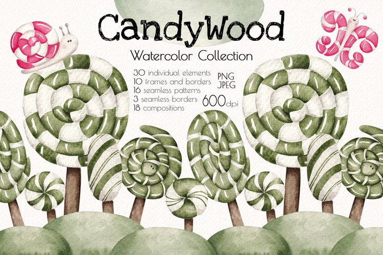 """Watercolor collection """"Candy Wood"""" example image 1"""