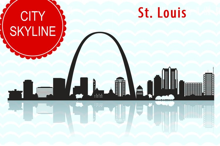 St. Louis city SVG,  Vector Skyline Missouri silhouette, USA city, SVG, JPG, PNG, DXF, CDR, EPS, AI example image 1