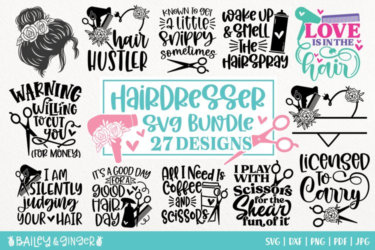 Hairdresser SVG Bundle | Hair Stylist & Hair Salon SVG Files example image 1