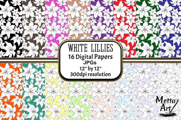 White Lillies - 16 Digital Papers/Backgrounds example image 1