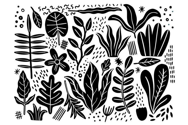 Set plant flat isolated black color