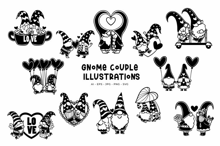 Gnome Couple illustrations