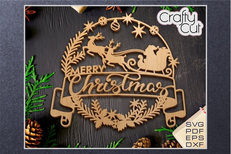 Christmas Wreath - Christmas laser cut decor - SVG file example image 1