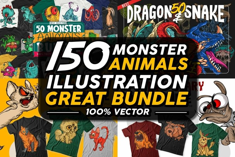 Monster Animals Sublimation Bundle, Scary Animal Vector Pack
