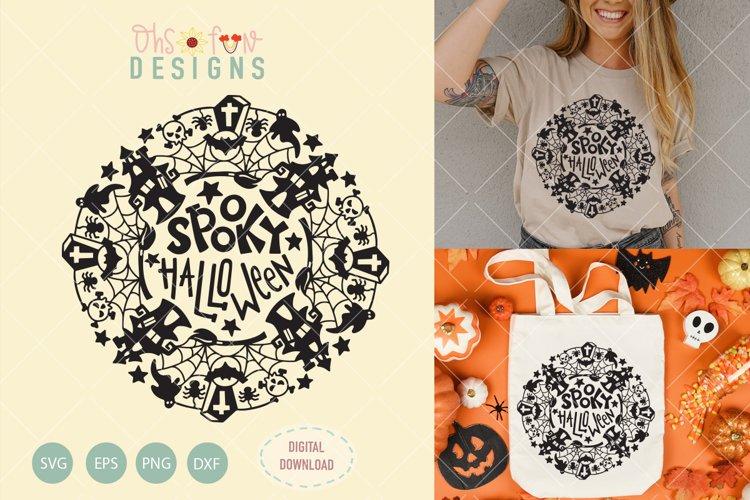 spooky halloween mandala, svg file, haunted house mandala