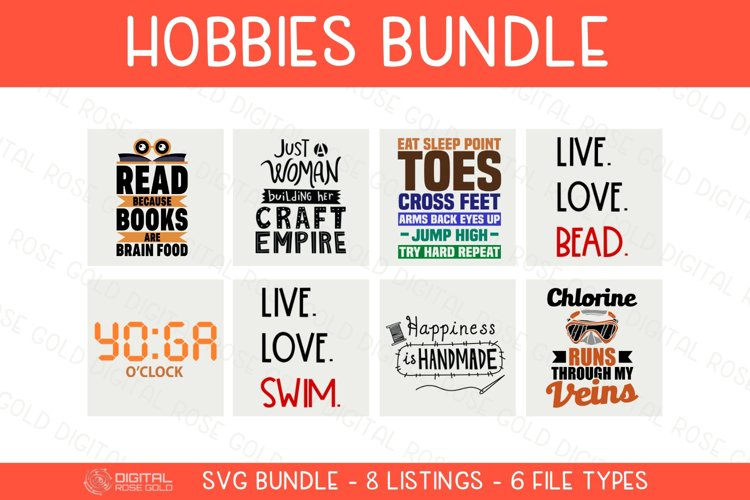 Hobbies Bundle - SVG BUNDLE - Hobby SVG Quotes, Swimming