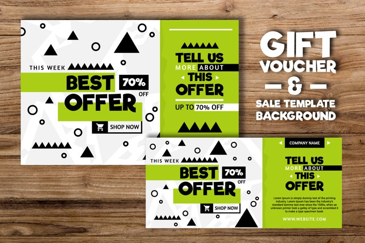 Geometric gift voucher and Sale Background Template example image 1