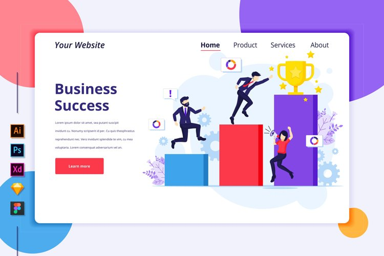 Landing page template of Business Success Illustration