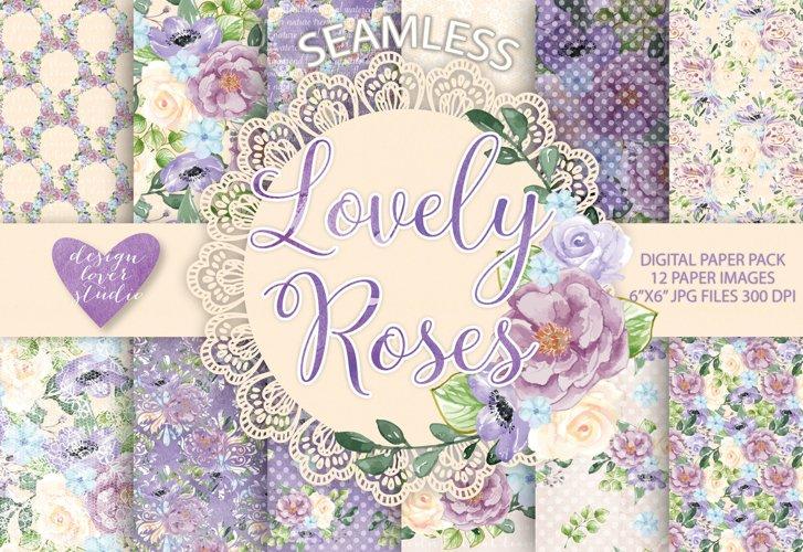 Watercolor Roses Anemone flowers digital paper