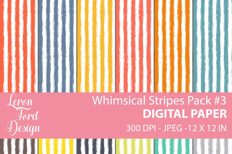 Whimsical Stripes Pack #3 Digital Paper example image 1