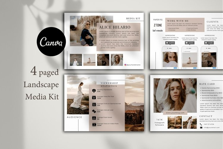 Media Kit Template, 4 Pages, Canva example image 1