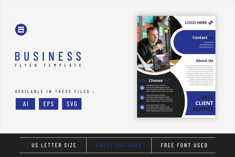 Business flyer template with dark blue geometry shapes example image 1