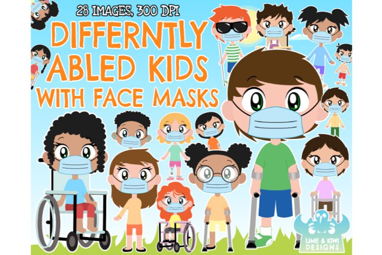 Differently Abled/Disabled Kids with Face Masks Clipart