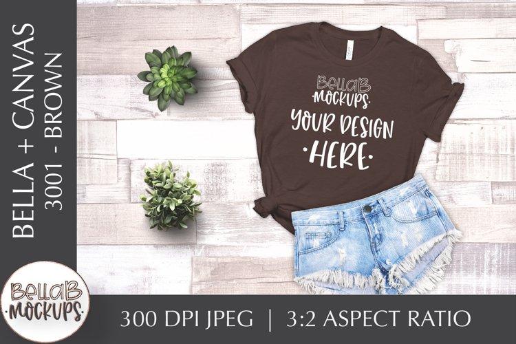 Bella Canvas 3001 Woman's T Shirt Mockup, Brown, Flat lay example image 1
