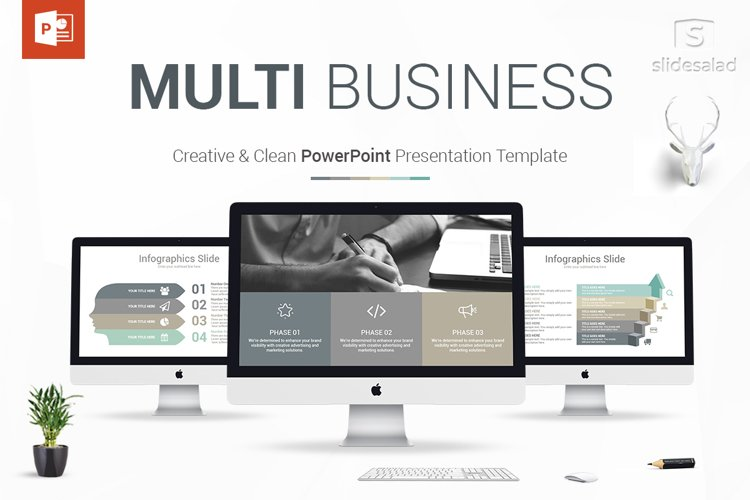 Best Multi Business PowerPoint Template example image 1