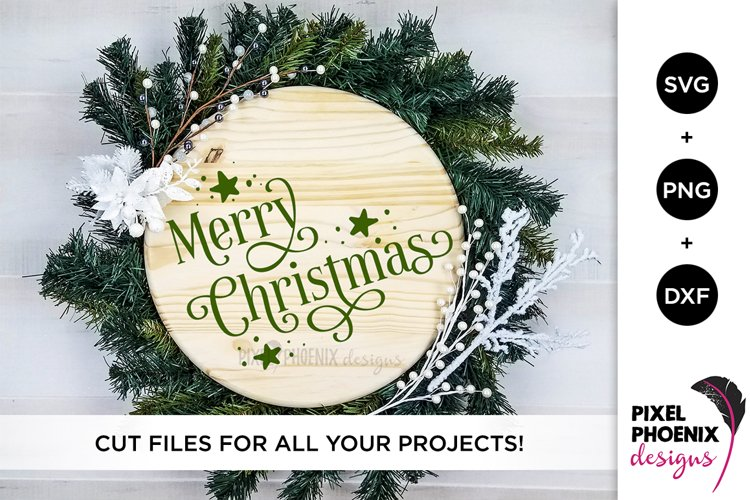 Merry Christmas SVG with stars example image 1
