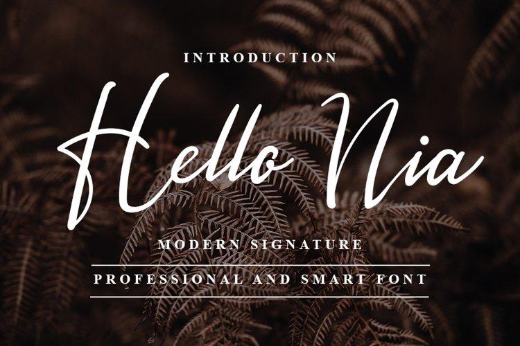 Hello Nia - Modern Signature Font example image 1