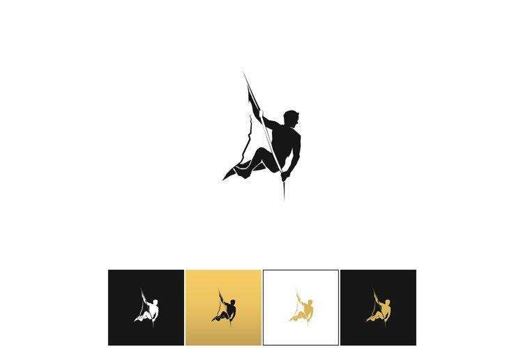 Rock climber logo or mountain climbing adventure silhouette example image 1