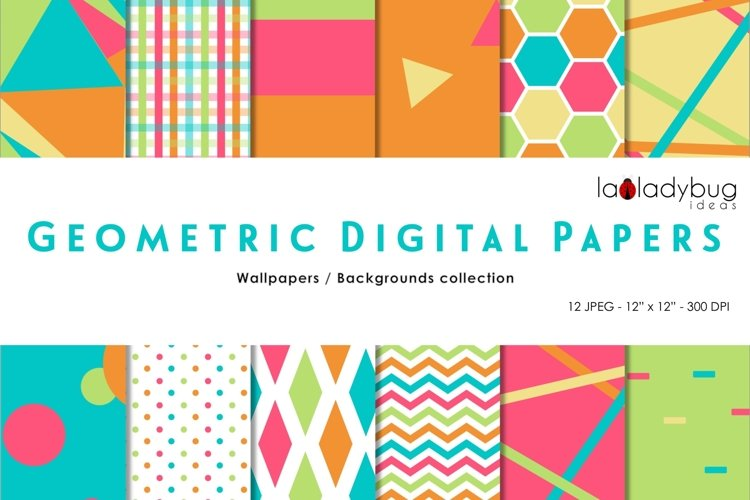 Summer colors triangles digital papers. Geometric wallpapers example image 1