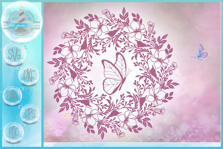 Hand Drawn Flower Floral Leaves Butterfly Mandala SVG