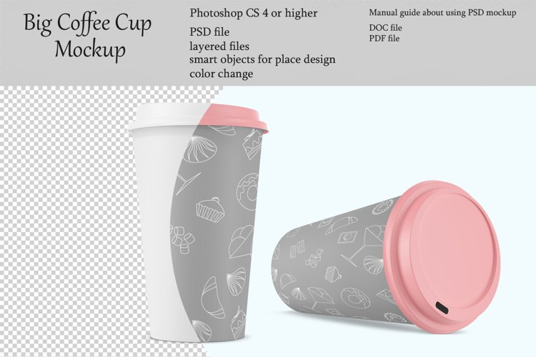 Big coffee cup mockup. Product place. PSD object mockup. example image 1