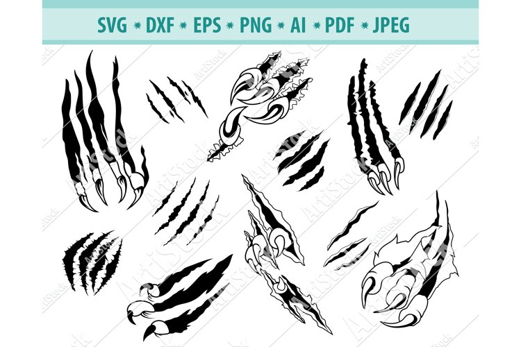 Claw svg, Scratch svg, Paw svg, Wildcat svg, Dxf, Png, Eps example image 1