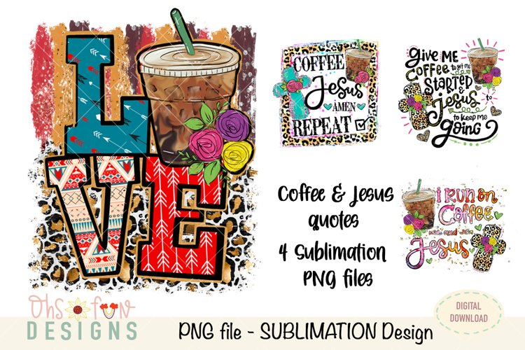 Sublimation bundle | coffee Jesus cross| animal prints example image 1