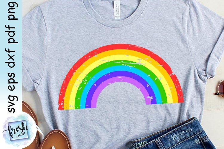 Rainbow Svg Distressed Rainbow Grunge Svg example image 1