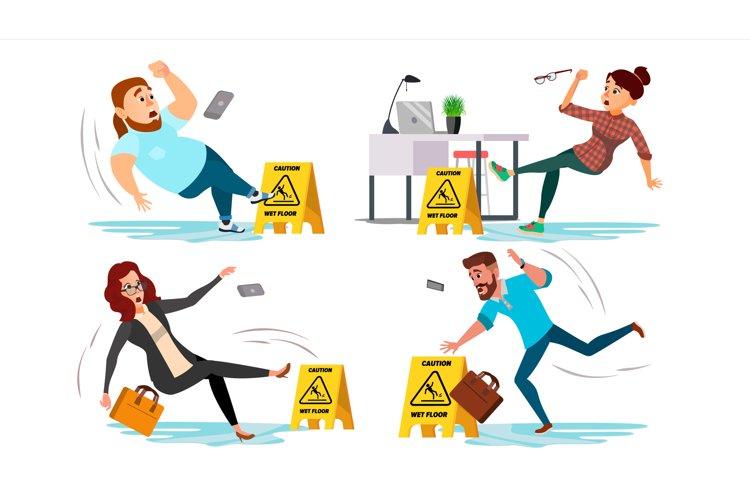 Caution Wet Floor Sign Vector. People Slips On Wet Floor. example image 1