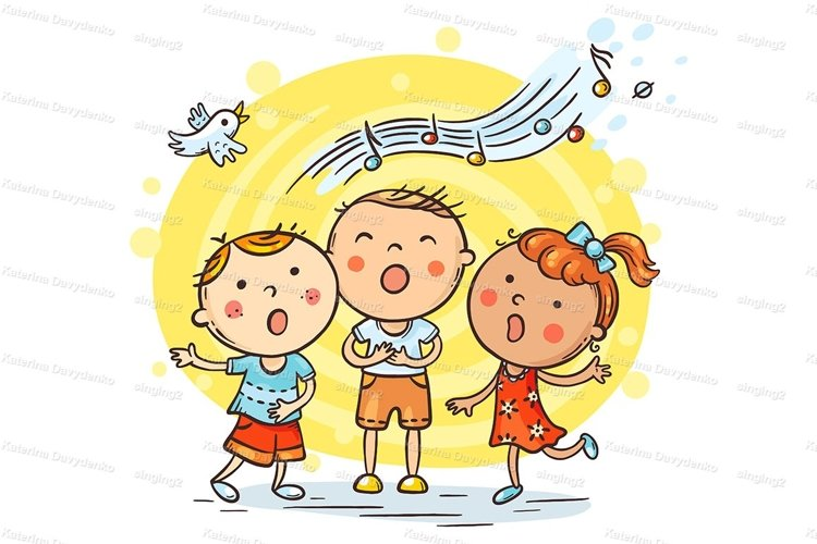Kids singing together, variant with cartoon hands example image 1