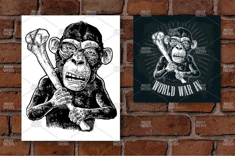 Monkey holding tibia. World War IV lettering. example image 1