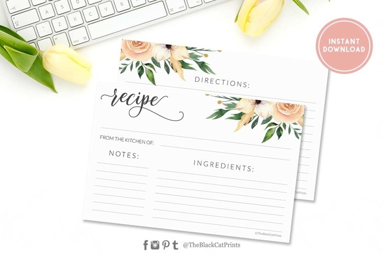 Floral Watercolor Recipe card   Printable   Double Sided